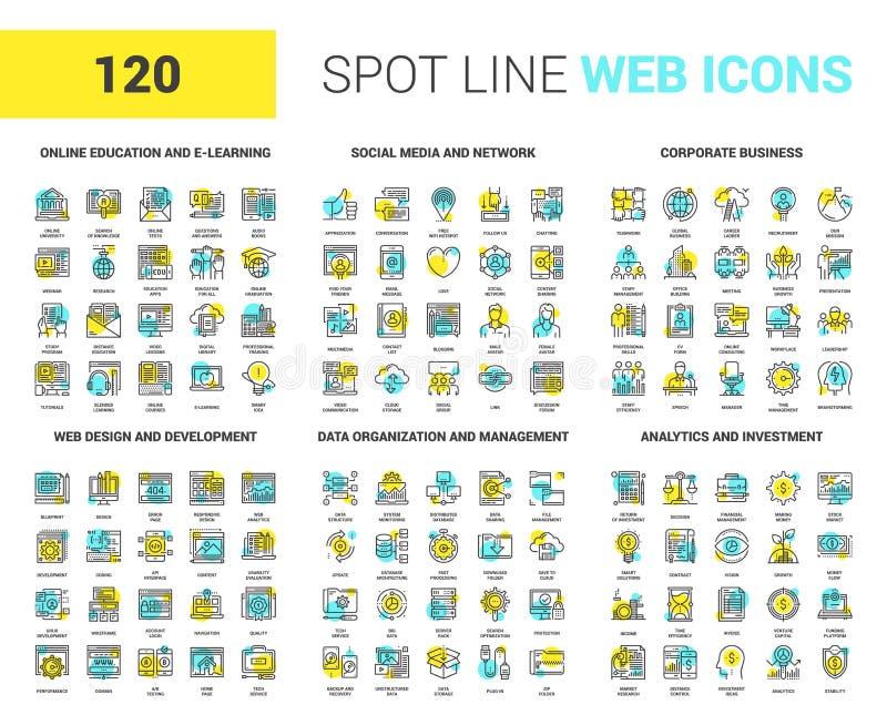 Linea icone del punto di web illustrazione di stock