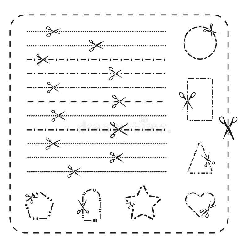 Linea icone del ritaglio di forbici Vector tratteggiato e punteggiato tagliando le linee di carta per progettazione royalty illustrazione gratis