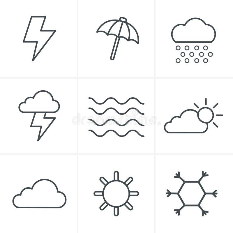 Linea icone del tempo di stile delle icone messe illustrazione vettoriale