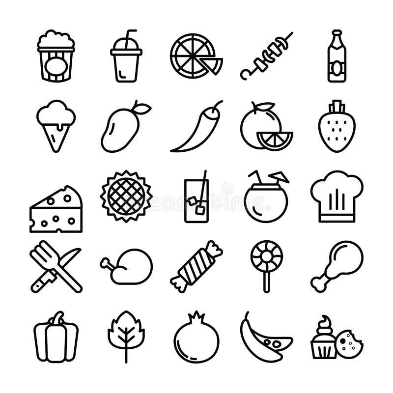 Linea icone dell'alimento illustrazione vettoriale