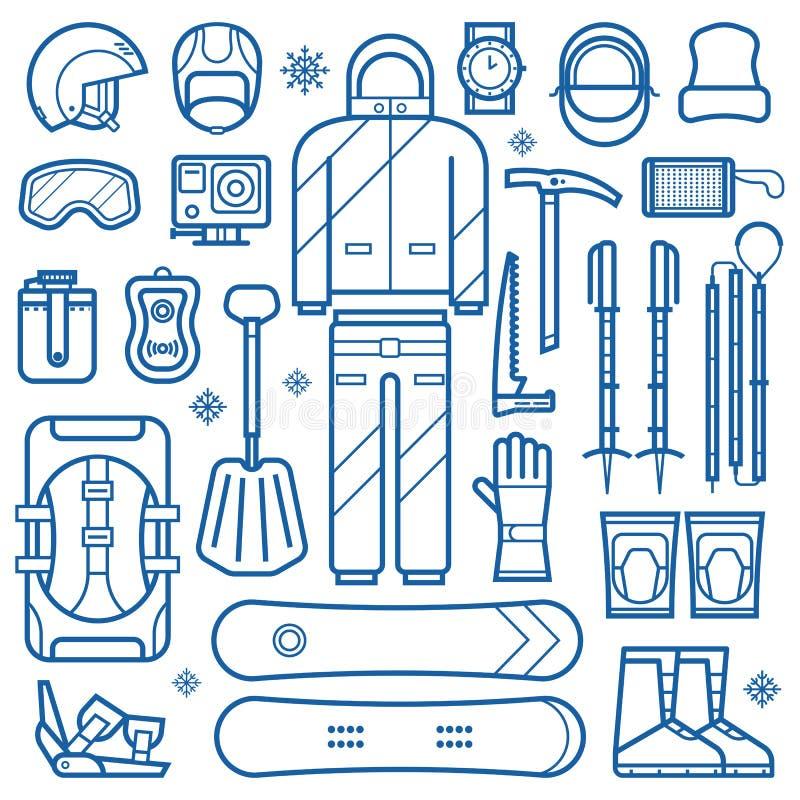 Linea icone dell'attrezzatura dello snowboard royalty illustrazione gratis