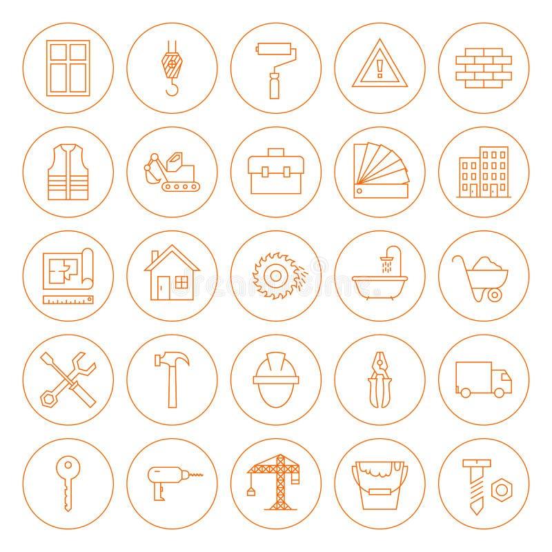 Linea icone dell'edificio e della costruzione del cerchio messe illustrazione vettoriale