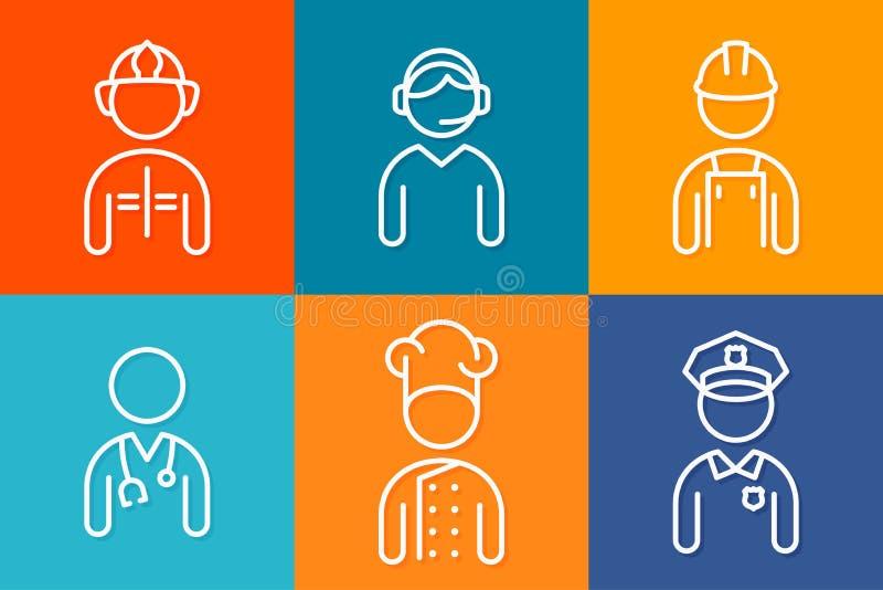 Linea icone dell'insieme di professione r illustrazione di stock