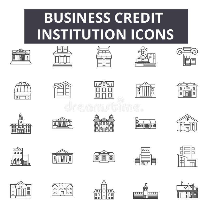Linea icone dell'istituto di credito di affari per il web e la progettazione mobile Segni editabili del colpo Istituto di credito illustrazione di stock