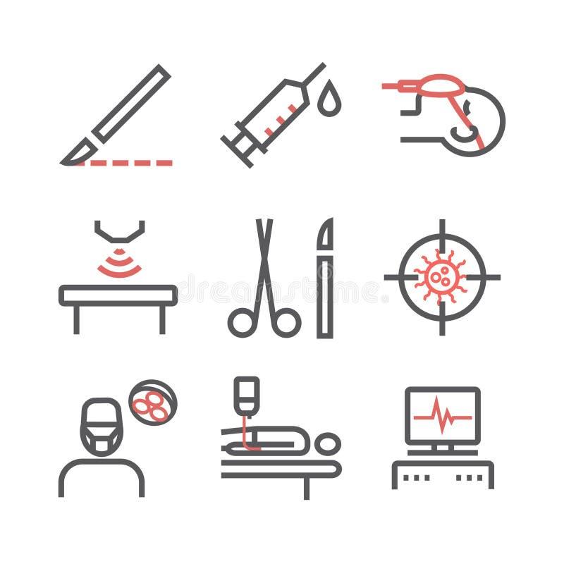 Linea icone della chirurgia generale Dipartimento dell'ospedale Centro sanitario Segno di vettore per i grafici di web royalty illustrazione gratis