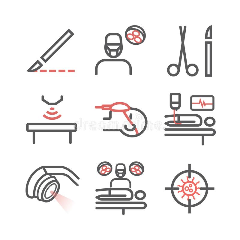 Linea icone della chirurgia generale Dipartimento dell'ospedale Centro sanitario Segno di vettore per i grafici di web illustrazione vettoriale