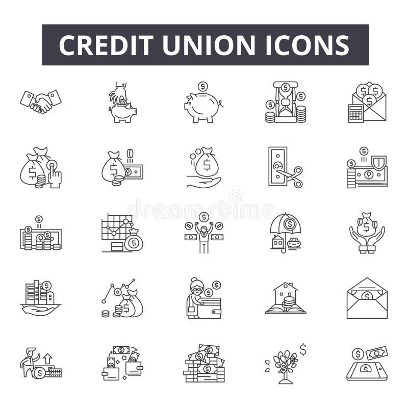 Linea icone della cooperativa di credito per il web e la progettazione mobile Segni editabili del colpo Illustrazioni di concetto illustrazione vettoriale