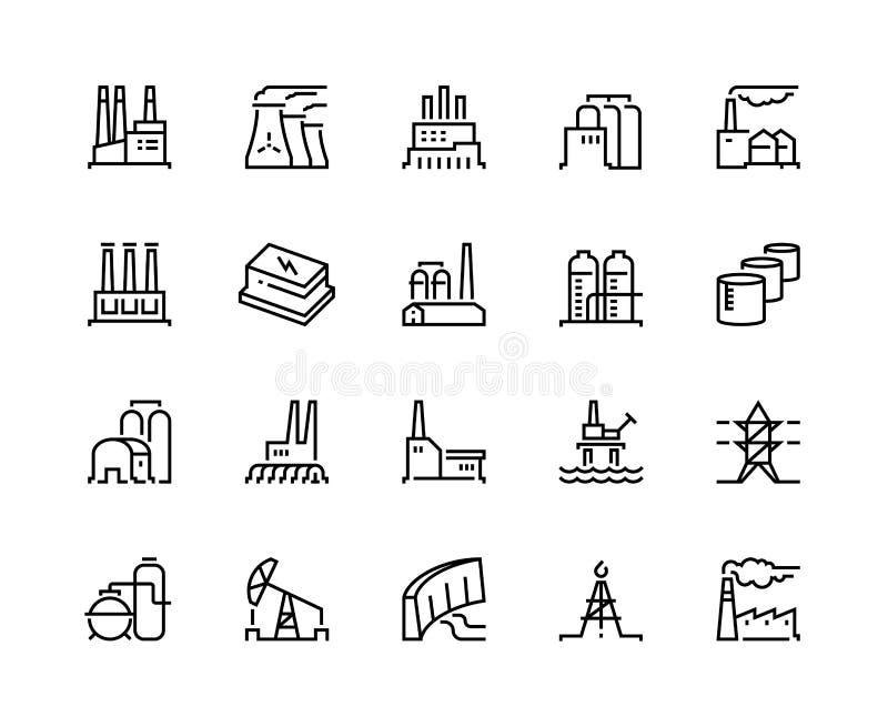 Linea icone della fabbrica Potere di industria, impianto di energia nucleare fabbricante chimico del magazzino della costruzione  illustrazione vettoriale