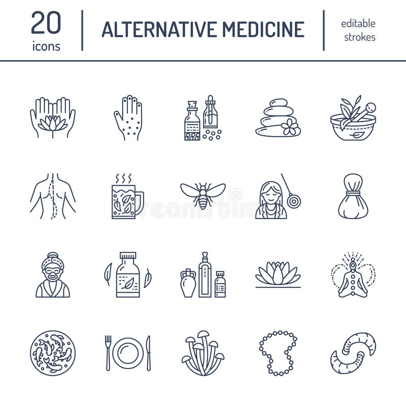 Linea icone della medicina alternativa Naturopatia, trattamento tradizionale, omeopatia, osteopatia, pesce di erbe e sanguisuga illustrazione di stock
