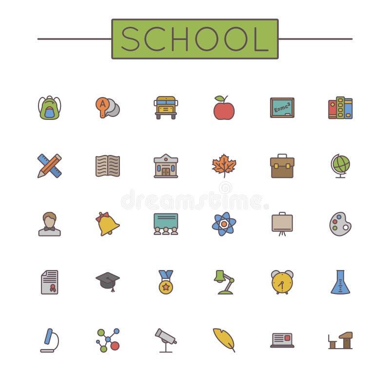 Linea icone della scuola colorata vettore illustrazione vettoriale