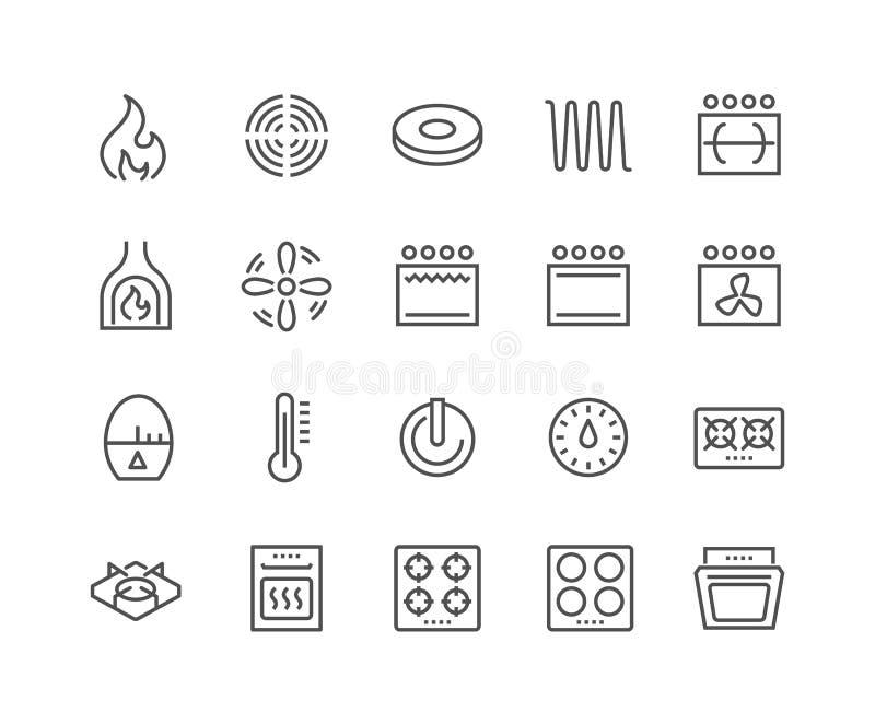 Linea icone della stufa illustrazione di stock