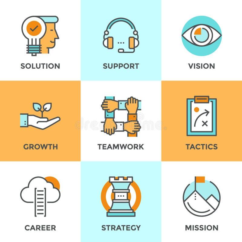 Linea icone delle metafore di affari di successo messe royalty illustrazione gratis