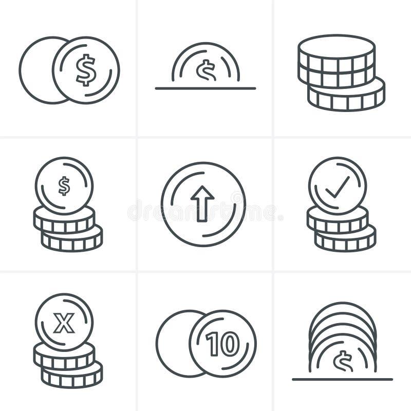 Linea icone delle monete di stile delle icone messe illustrazione di stock