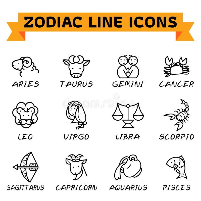Linea icone dello zodiaco illustrazione di stock
