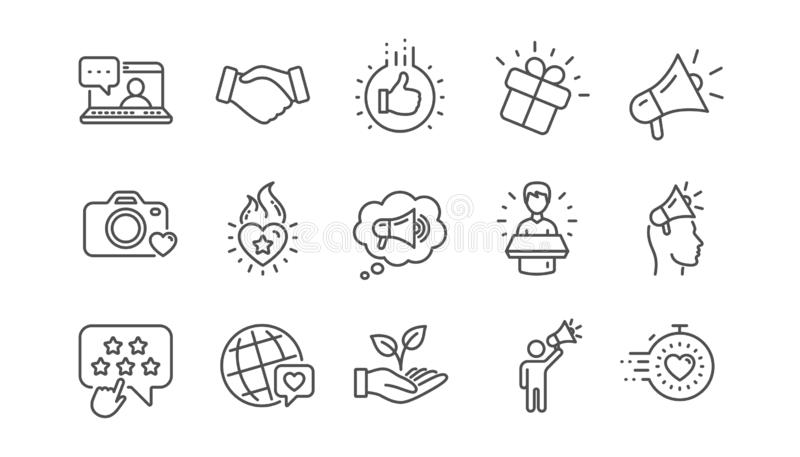 Linea icone di ambasciatore di marca Influenzi la gente, il megafono ed il rappresentante Insieme lineare Vettore royalty illustrazione gratis