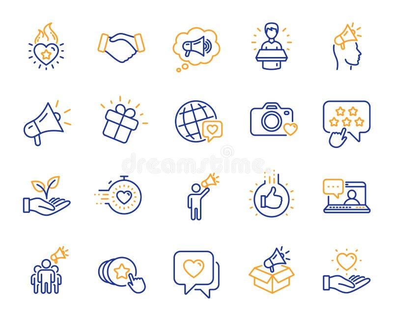 Linea icone di ambasciatore di marca Influenzi la gente, il megafono ed il rappresentante Vettore illustrazione di stock