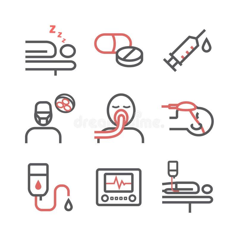 Linea icone di anestesia Dipartimento anestetico Centro sanitario Segno di vettore per i grafici di web royalty illustrazione gratis