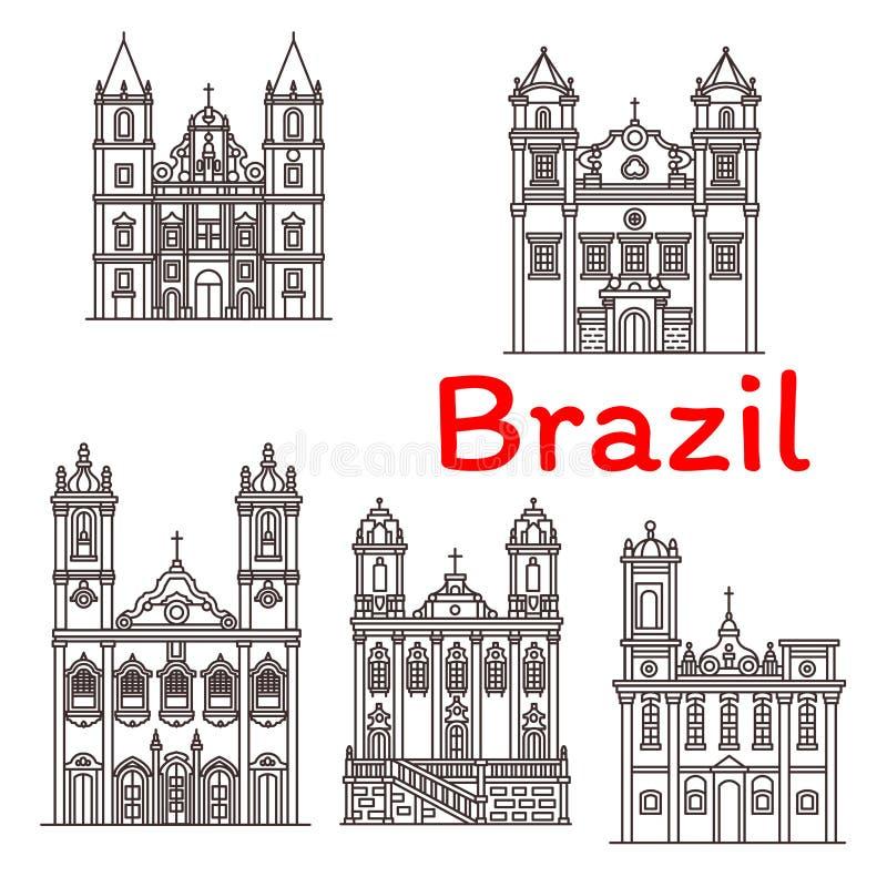 Linea icone di architettura di vettore dei punti di riferimento del Brasile illustrazione di stock