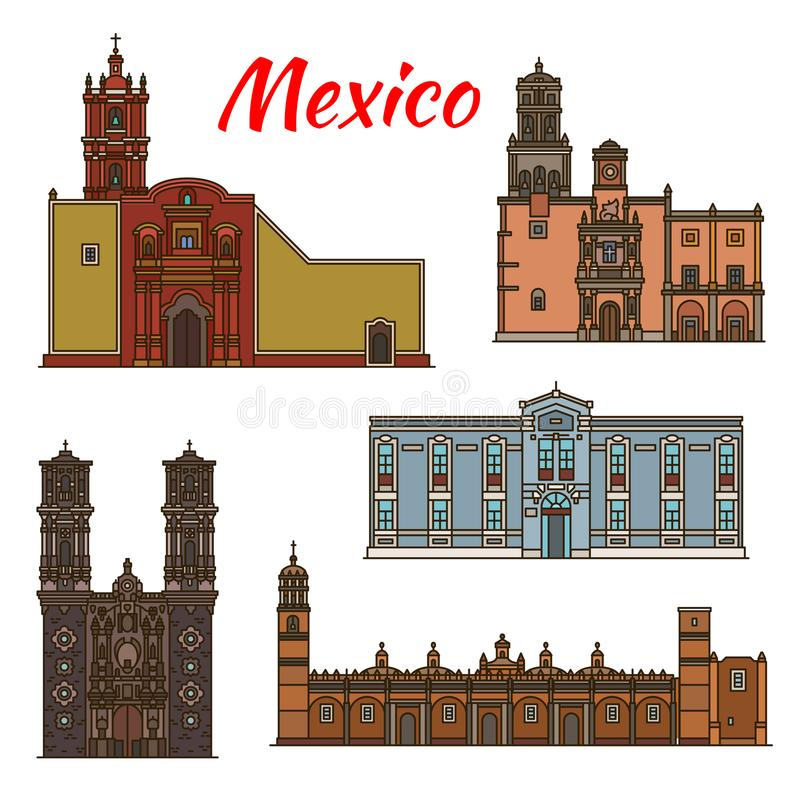 Linea icone di architettura di vettore dei punti di riferimento del Messico illustrazione di stock