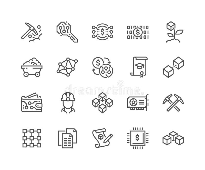 Linea icone di Blockchain royalty illustrazione gratis