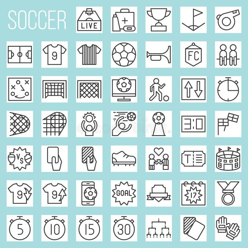 Linea icone di calcio messe illustrazione di stock