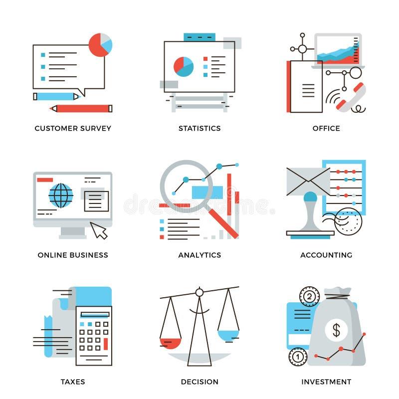 Linea icone di contabilità di finanza e di affari messe illustrazione vettoriale