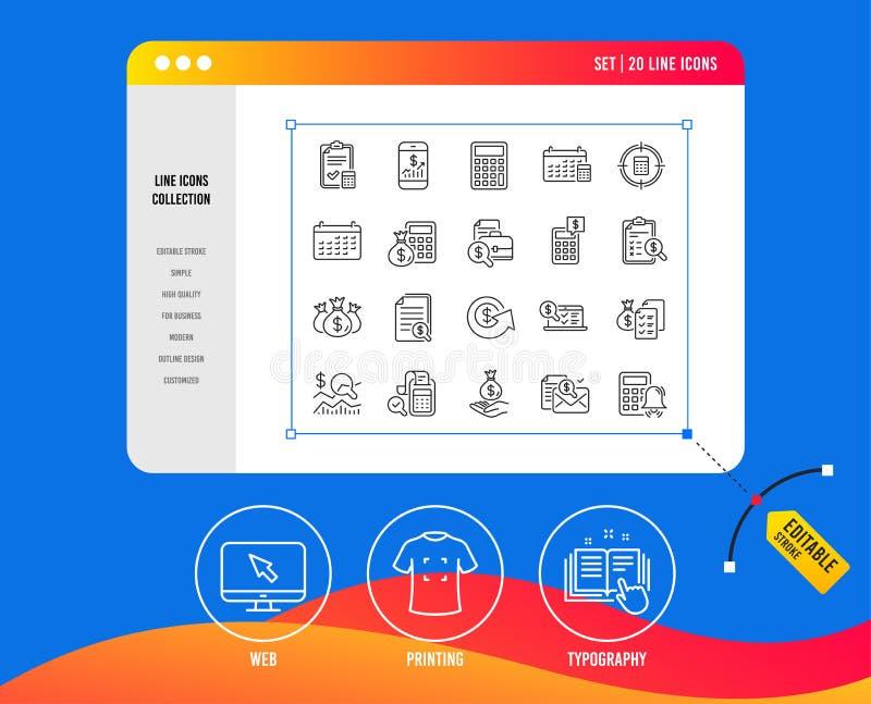 Linea icone di contabilità Insieme dell'investimento del controllo, di calcolo e del rapporto Vettore royalty illustrazione gratis