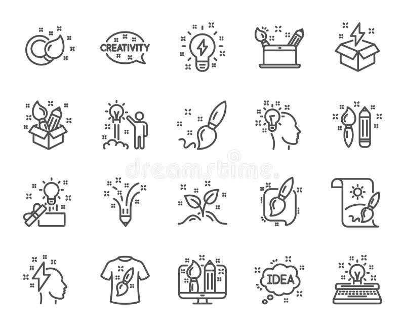 Linea icone di creatività Insieme dei segni di progettazione, di idea e di ispirazione Vettore illustrazione vettoriale