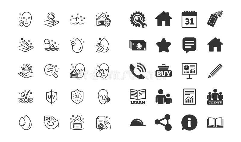 Linea icone di cura di pelle Insieme di goccia del siero, della crema e del gel o della lozione del fronte Vettore illustrazione di stock