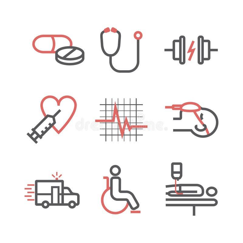 Linea icone di emergenza e di incidente Segni della clinica Sostegno vitale Segni di vettore per i grafici di web illustrazione vettoriale