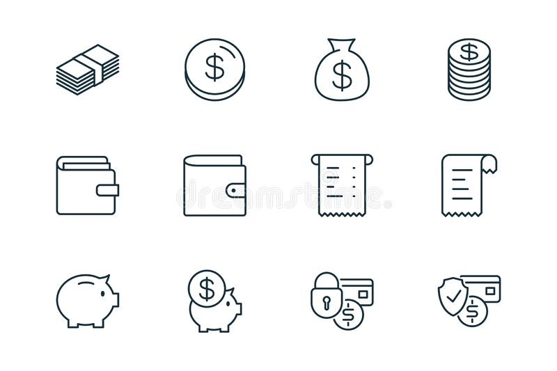 Linea icone di finanza di commercio elettronico messe su fondo bianco illustrazione vettoriale