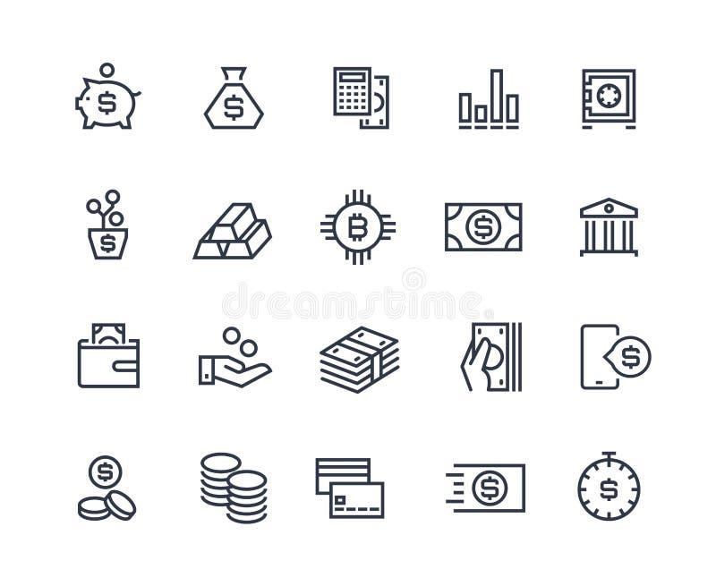 Linea icone di finanza Il conto di affari di soldi, finanza della gestione di valuta ascolta calcolazione dei soldi Investimento  illustrazione vettoriale
