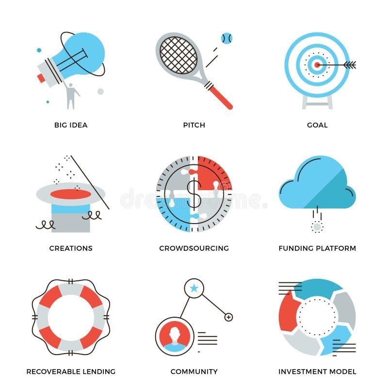Linea icone di finanziamento e di Crowdsourcing messe royalty illustrazione gratis