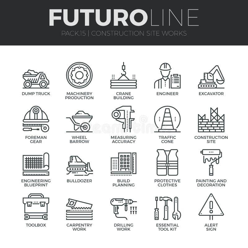 Linea icone di Futuro dei lavori di costruzione messe illustrazione vettoriale