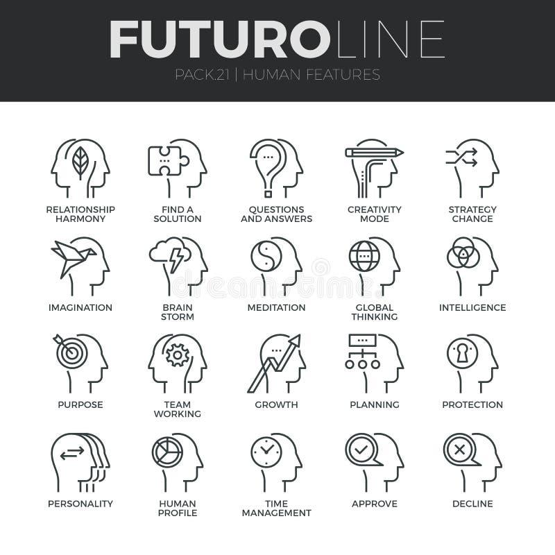 Linea icone di Futuro delle caratteristiche dell'essere umano messe royalty illustrazione gratis