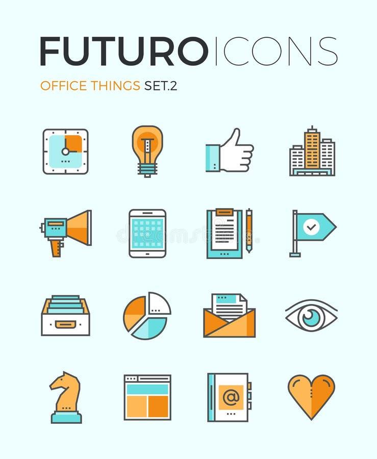 Linea icone di futuro di cose dell'ufficio illustrazione vettoriale