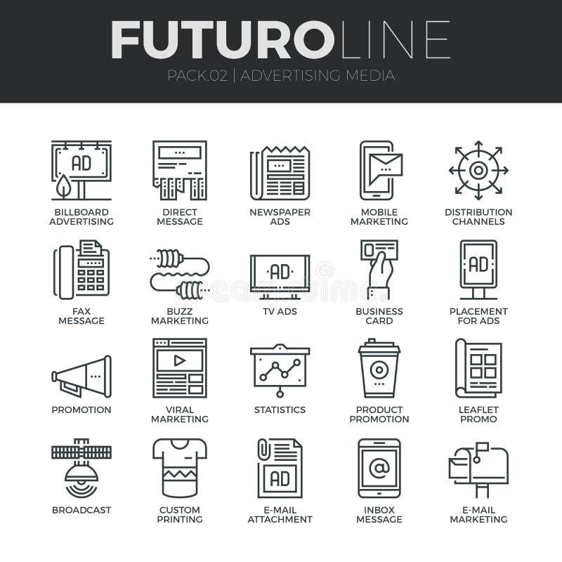 Linea icone di Futuro di mezzi pubblicitari messe illustrazione vettoriale
