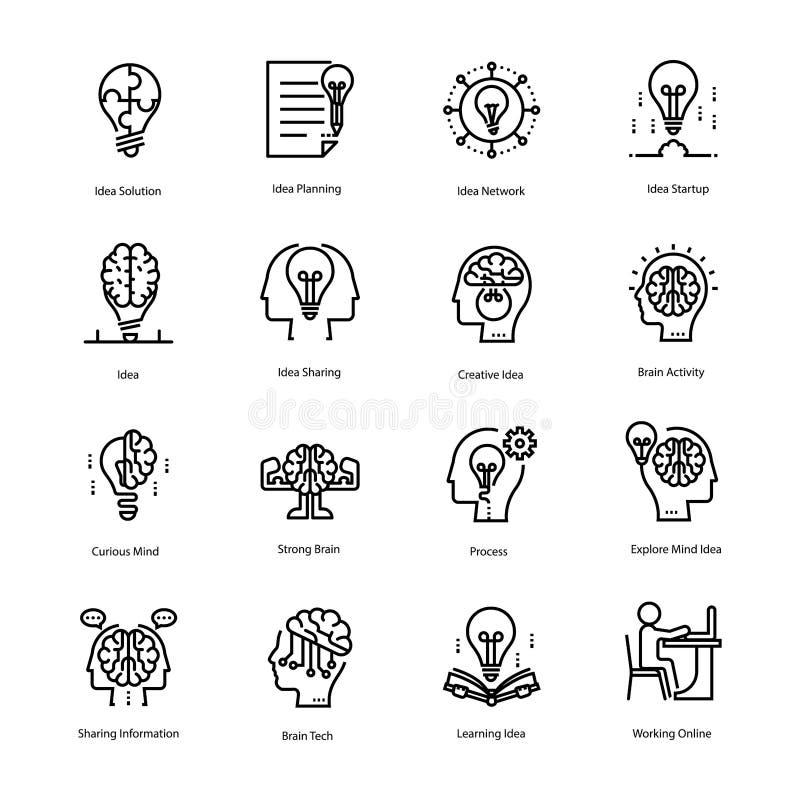 Linea icone di idea e di ispirazione illustrazione di stock