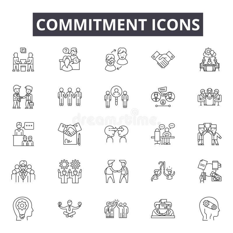 Linea icone di impegno per il web e la progettazione mobile Segni editabili del colpo Illustrazioni di concetto del profilo di im illustrazione vettoriale