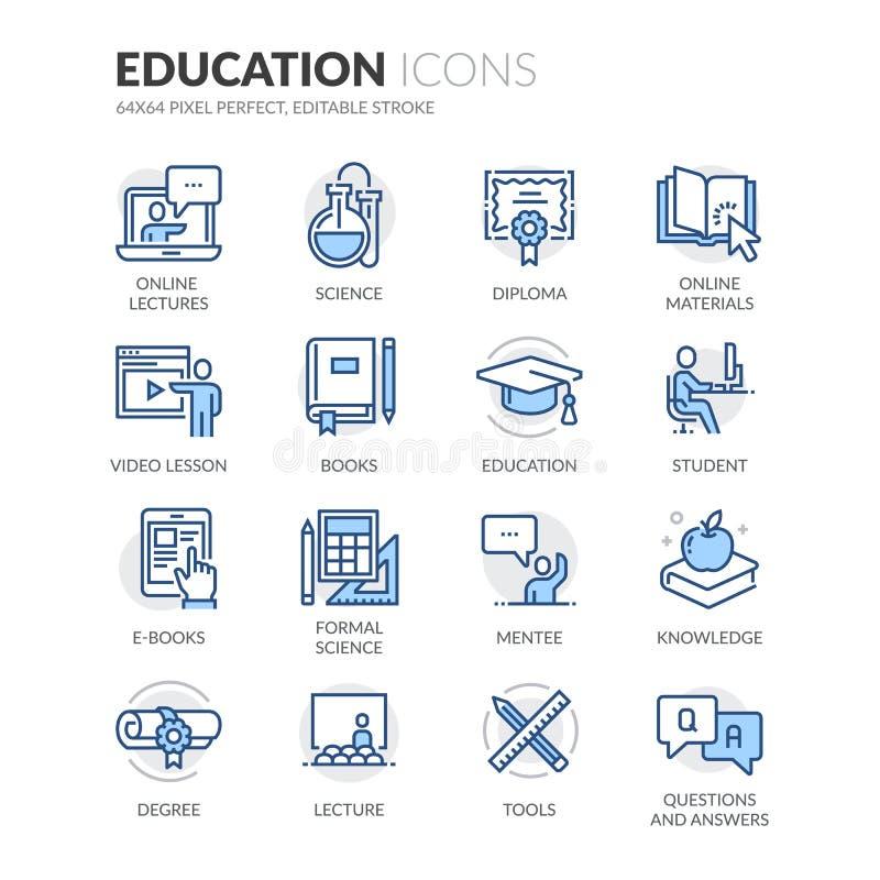Linea icone di istruzione illustrazione vettoriale
