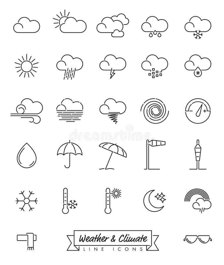 Linea icone di meteorologia e del tempo messe royalty illustrazione gratis