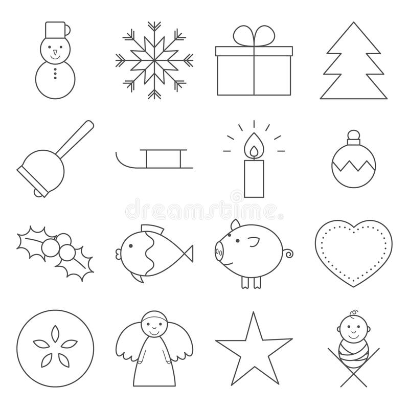 Linea icone di Natale illustrazione di stock