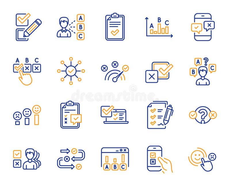 Linea icone di rapporto o di indagine Insieme dell'opinione, soddisfazione del cliente Vettore royalty illustrazione gratis