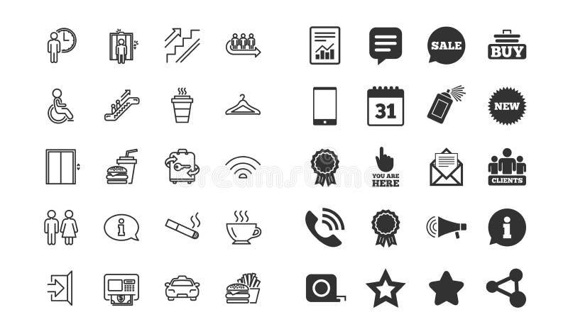 Linea icone di servizi pubblici Elevatore, guardaroba Vettore royalty illustrazione gratis