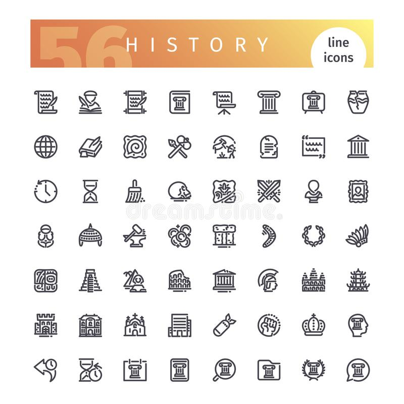 Linea icone di storia messe illustrazione di stock