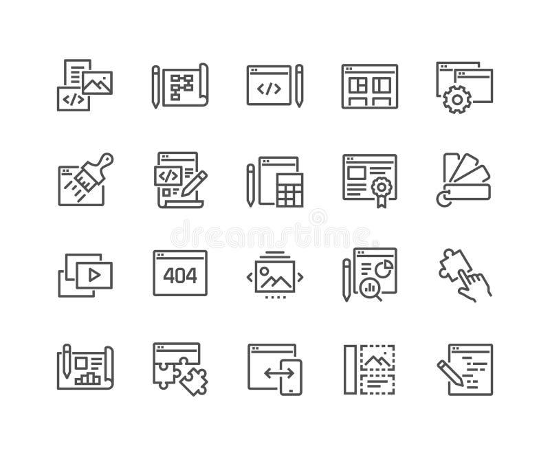 Linea icone di sviluppo Web illustrazione di stock