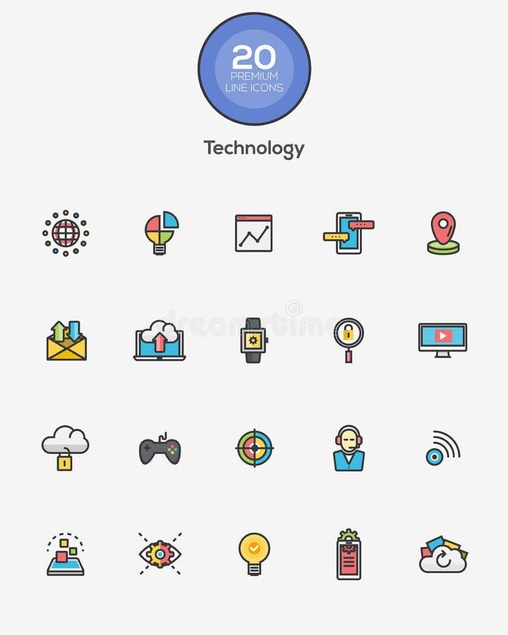Linea icone di tecnologia di colore illustrazione vettoriale