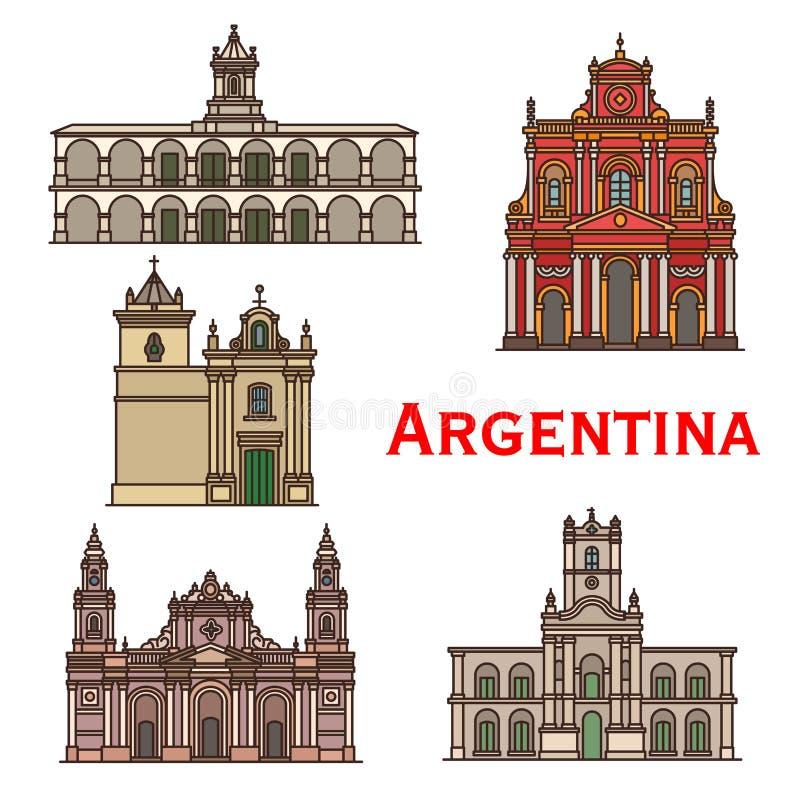Linea icone di vettore di architettura dei punti di riferimento dell'Argentina royalty illustrazione gratis