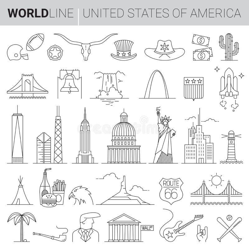 Linea icone di vettore degli Stati Uniti illustrazione vettoriale
