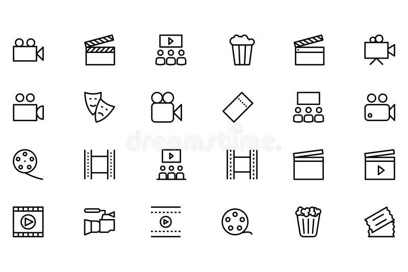Linea icone 1 di vettore del cinema illustrazione vettoriale